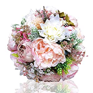 HEA GH Wedding Bouquets,Handmade Romantic Roses Dahlia Peony Hydrangea Artificial Flowers Blossom Decor Bridal Bridesmaid Bouquet Home Wedding Decoration Gift for Birthday Valentine's Day 58