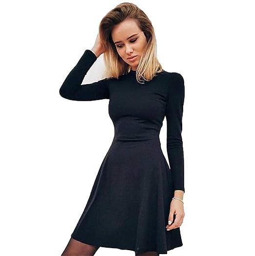 277bec2bd948 Esqlotres Women Casual Long Sleeve High Waist Solid Slim Bodycon Mini Dress  Dresses Black