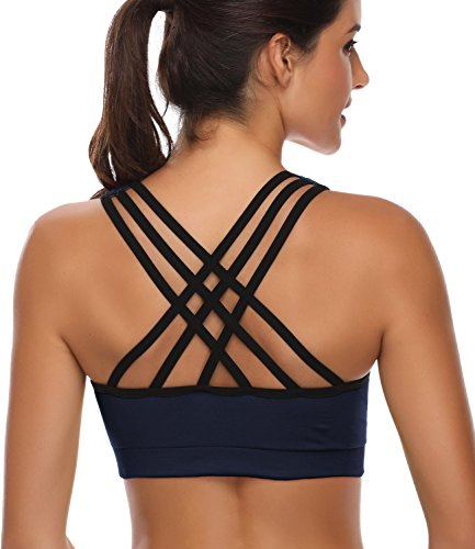 Padded Strappy Sports Bras for Women  Activewear Tops for Yoga Running Fitness