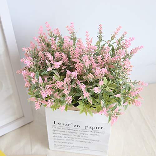 KIRIN Artificial Fake Flowers Plants Plastic 4 Pcs Lavenders Flower Arrangements Wedding Bouquets Decorations Floral Table Centerpieces Home Kitchen Garden Party Décor
