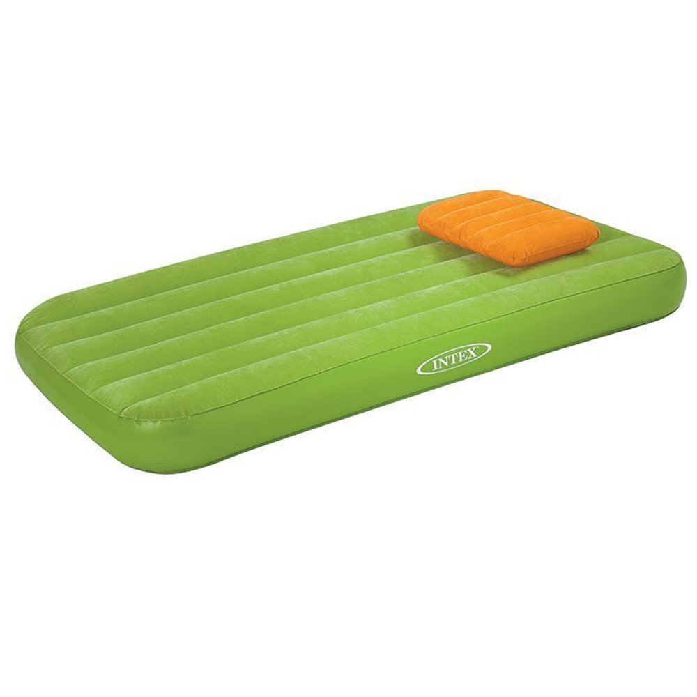 Intex Cozy Kidz Inflatable Air Bed w/Contrasting Color Pillow (Green/Orange)