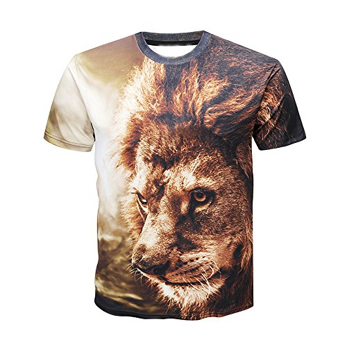 (ZyrunaeL Mens Lion Print Casual Slim Short-Sleeved Shirt Top Blouse Coffee)