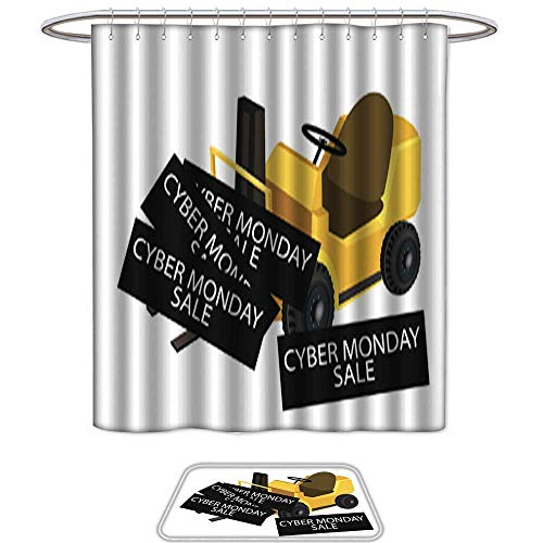 UHOO Bathroom Sets Non SlipForklift Truck Loading Card. Bath Mats ic,Shower Curtain,12pcs Metal Hook