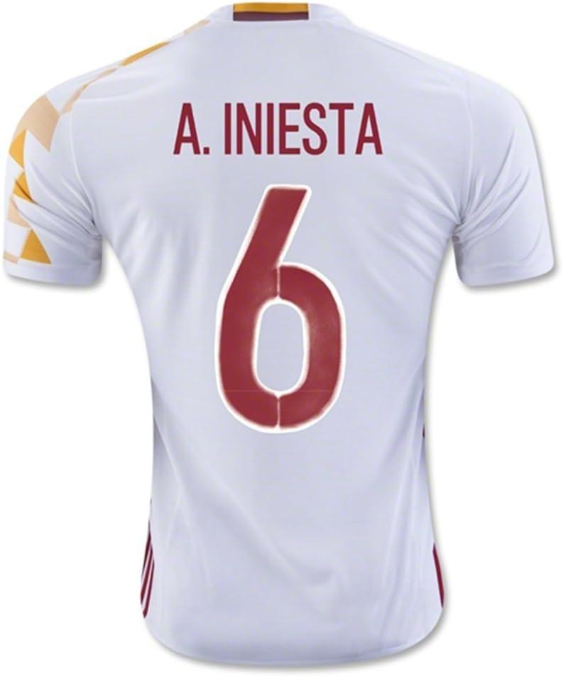 2016 2017 UEFA Euro Cup España 6 un Iniesta away fútbol fútbol Jersey en color blanco, hombre, blanco, mediano: Amazon.es: Ropa y accesorios