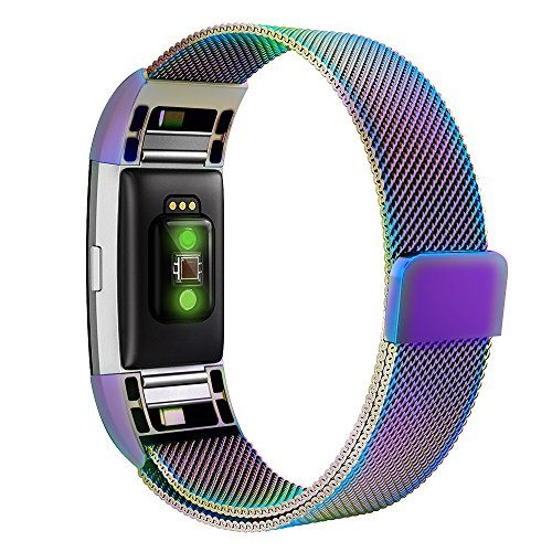 Bands for Fitbit Charge 2, Simpeak Stainless Steel Replacement Metal Band Strap with Magnetic Closure Clasp for Fit bit Charge 2, Rainbow, Large