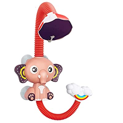JIY red Baby Bath Toys Electric Elephent Animal Sucker Electric shower Rain Head Plastic Children Game Water Cloud: Office Products