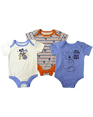 Baby Mickey Mouse 3 Pack Bodysuits - All Star Mickey - 0-3M