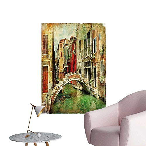 Jaydevn Venice 3D Murals Stickers Wall Decals Vintage Artwork Painting Style Historic Venetian Landscape Artistic Print 3D Decorative Sticker Green Red Light Brown W8 x H10]()