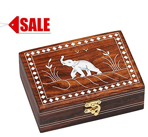 SouvNear Dancing Elephant Wooden Storage Box - Handmade Jewelry Box / Decorative Box / Treasure Chest / Keepsake Box for Women and Men from India (View amazon detail page)