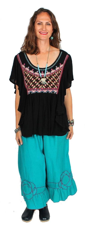 Sunheart Ramie Linen Flower Pant Boho Hippie Chic Resort Wear Sml-2x