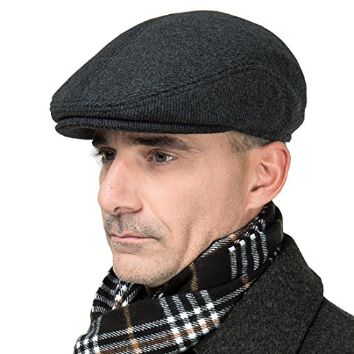 Worsted Fiber - MSFGJZM Men Fall Winter Peaked Flat Cap newsboy Cap Beret Hat With Adjustable Earmuffs Grey Worsted (M/58cm)