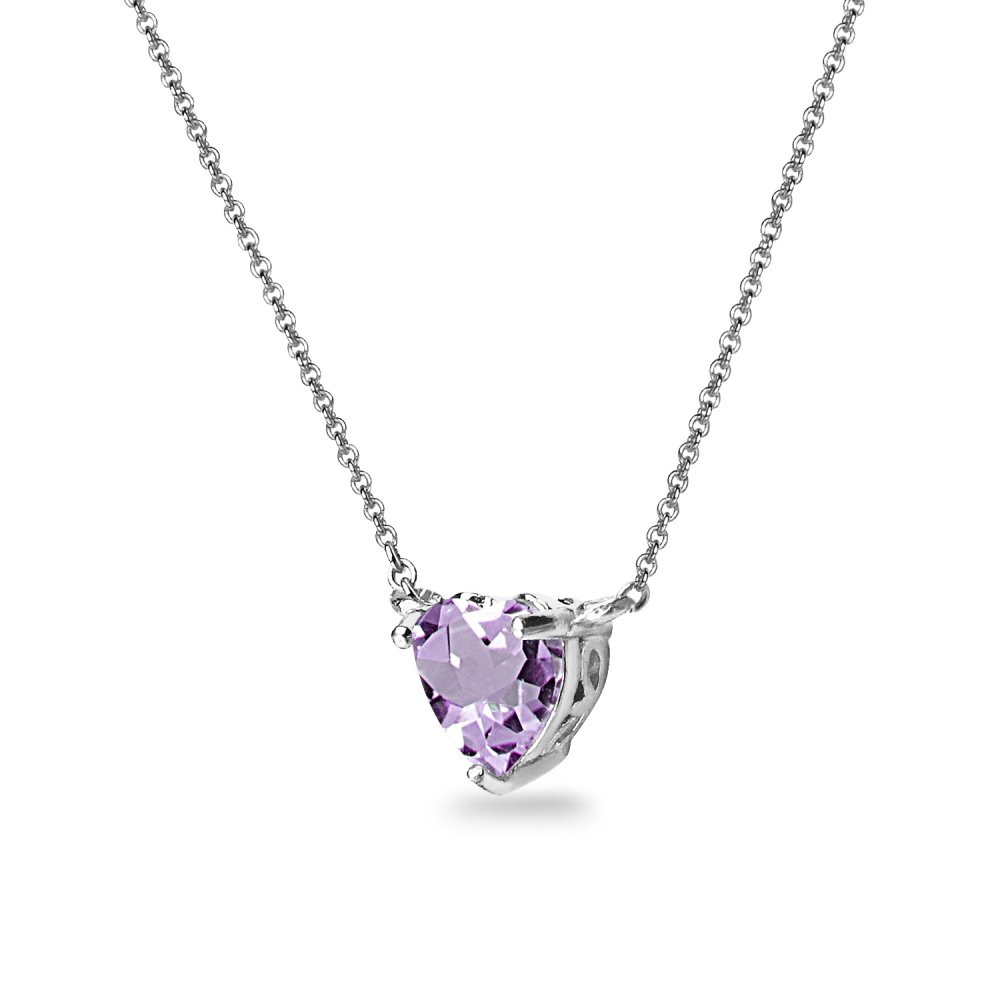 Sterling Silver Amethyst 7x7mm Heart Shaped Dainty Choker Necklace by GemStar USA (Image #2)