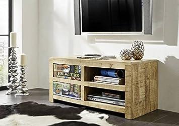 meuble tv bois massif de manguier laqu imprim multicolore style urbain detroit