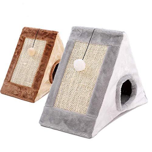 (MXY Multi-Functional Removable Triangle Cat House Tent Cat House Articles Cat House Cat House Kitten Sleeping Nest Four Seasons Universal Summer Villa Foldable Cat Nest Gripper Cat Nest,Brown)