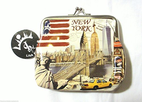 New York Souvenir Coin Change Purse with Statue of Liberty and NYC Skyline T0205