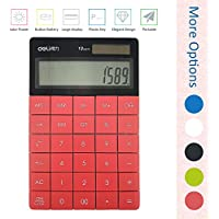 Deli 1589 standard function with OFF back button calculator, Red, Big lcd screen large display, Dual power (Solar and AG13 1.5V button battery) 12 digits desktop calculator