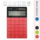Deli 1589 standard function with ''OFF'' ''back'' button calculator, Red, Big lcd screen large display, Dual power (Solar and AG13 1.5V button battery) 12 digits desktop calculator