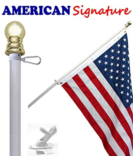 (Flag Pole Kit - Includes 3x5 Ft American Flag Made in USA, 6 Foot Tangle Free Flag Pole, and Flagpole Bracket Holder Kit (White))