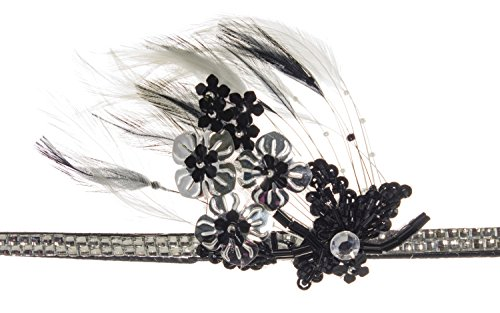 Linda Ann's Flower Applique & Feather On Silver Rhinestone - Flower Shop Lindas