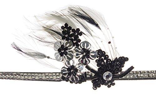 Linda Ann's Flower Applique & Feather On Silver Rhinestone - Lindas Shop Flower