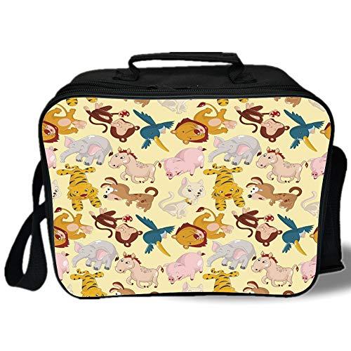 Insulated Lunch Bag,Nursery,Cartoon Animals Jungle Themed Design Monkey Pig Tiger Elephant Lion Horse Sparrow Decorative,Multicolor,for Work/School/Picnic, Grey ()