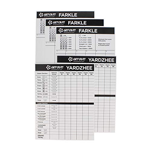 Get Out! Giant Yard Dice Laminated Score Keeper Cards Large 5pk  Jumbo Outdoor Lawn Game Dice Point Pads Game Sheets