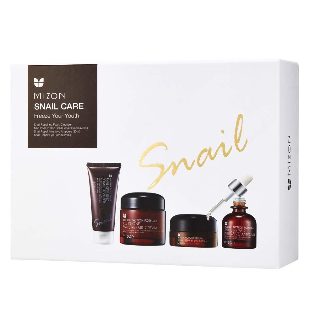 Mizon Snail Care Freeze your Youth Set: All in One Snail Repair Cream (75ml), Snail Repairing Foam Cleanser (60ml), Snail Repair Intensive Ampoule (30ml), Snail Repair Eye Cream (25ml) Korean Skincare