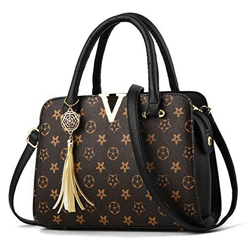 - Women's Fashion PU Leather V Handbags Tote Shoulder Purse Top-Handle Crossbody Bag (Black)