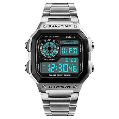 SKMEI Digital White Dial Men #39;s Watch 1335 Silver