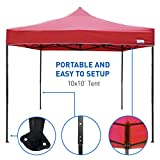 EasyGoProducts EGP-TENT-002-R 10 x10 Tent-Deluxe Instant Easy Pop-Up Frame-Outdoor, Red