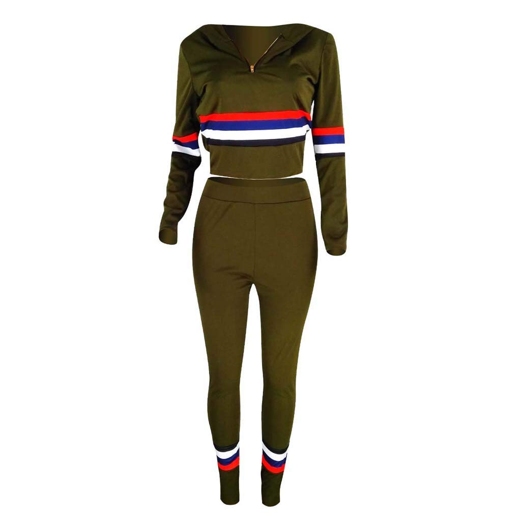Women Two Piece Tracksuit Outfits Sets Long Sleeve Sweatshirt Hoodies Light Zip Up Pullover Tops Slim Leggings 2019 Casual Sweatsuits Suit