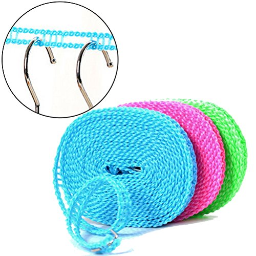 Pengxiaomei Clotheslines,1 Pack 5m Portable Windproof Travel Adjustable Clothes Line for Outdoor Indoor Home Laundry Drying (Random Color)