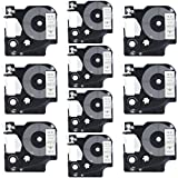 DYMO D1 45013 Label Tape, LaBold 10 Pack Black on White Label Tape Cartridge Compatible for DYMO Standard D1 45013 Label Manager 1/2'' x 23' (12mm x 7m)