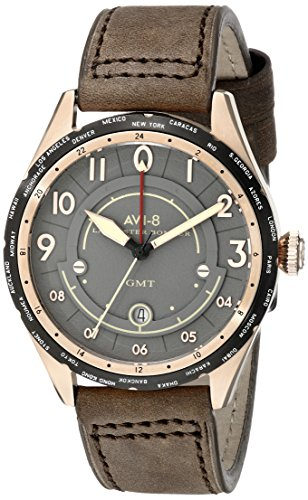 AVI-8 Men's AV-4035-04 Lancaster Bomber Gold-Tone Stainless Steel Watch with Brown Leather Band