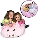 "Jumbo Stuffed Animal Storage Bean Bag - ""Soft 'n Snuggly"" Comfy Fabric Kids Love - Monkey, Pig Or Elephant - Replace Your Mesh Toy Hammock Or Net - Store Extra Blankets & Pillows Too"