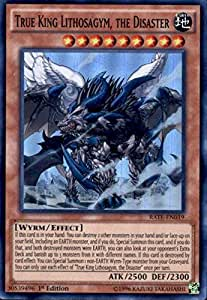 New - Yugioh Super Rare 1st Edition - True King Lithosagym, the Disaster - RATE-EN019