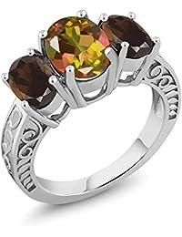 3.30 Ct Oval Mango Mystic Topaz Brown Smoky Quartz 925 Sterling Silver Ring