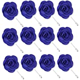 Rhungift Flower Pins, Handmade Camellia Flower Boutonniere for Men Women Suit(Pack of 12) (Dark Blue)