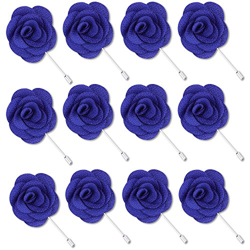 Rhungift Flower Pins, Handmade Camellia Flower Boutonniere for Men Women Suit(Pack of 12) (Dark Blue) by Rhungift