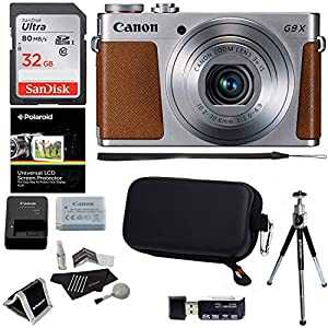 Canon PowerShot G9x Mark II Digital Camera with 3x Optical Zoom Built-in Wi-Fi LCD touch panel Black, Sandisk 64GB Memory Card, Ritz Gear Photo Pack, Polaroid Tripod, Cleaning Kit and Accessory Bundle