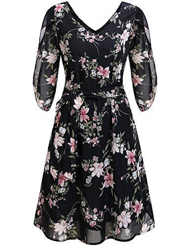 JCZHWQU Midi Dresses for Women Casual Summer, Misses Cute V Neck 3/4 Sleeve Empire Waist Belted Flare Hawaii Flower Print Double Layered Lined Chiffon Tea Dress Black L