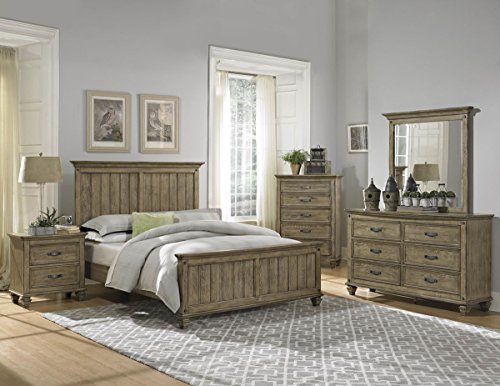 Amazon.com: Rustic Driftwood Finish Bedroom Furniture With Or Without  Storage   Sylvania (Cal King Bed W/o Storage): Kitchen U0026 Dining