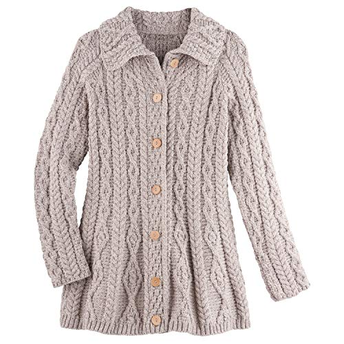 Aran Woolen Mills Women's Brianna Aran Cardigan - Collared Button Down Sweater - Oat - Large ()