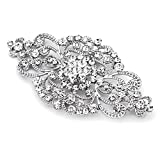 Mariell Vintage Bridal Crystal Brooch Pin - Top Selling Antique Silver Rhinestone Wedding & Fashion Glam