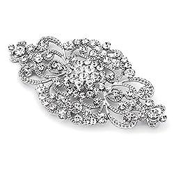 Antique Silver Rhinestone Crystal Brooch
