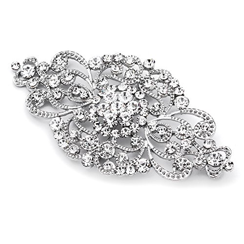 Crystal Faux Brooch - Mariell Vintage Bridal Crystal Brooch Pin - Top Selling Antique Silver Rhinestone Wedding & Fashion Glam