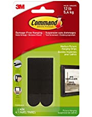 Command Medium Picture Hanging Strips for Picture Frames, 4 Pairs, Black - 17201BLK-C