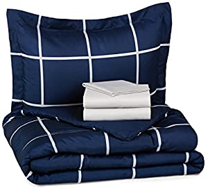 AmazonBasics 5-Piece Bed-In-A-Bag - Twin/Twin Extra-Long, Navy Simple Plaid, 4-Pack