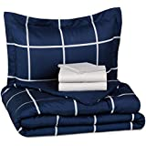 5piece bedinabag twintwin extralong navy simple plaid