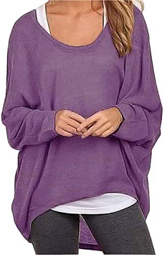 Uget Women's Casual Oversized Baggy Off-Shoulder Shirts Pullover Tops